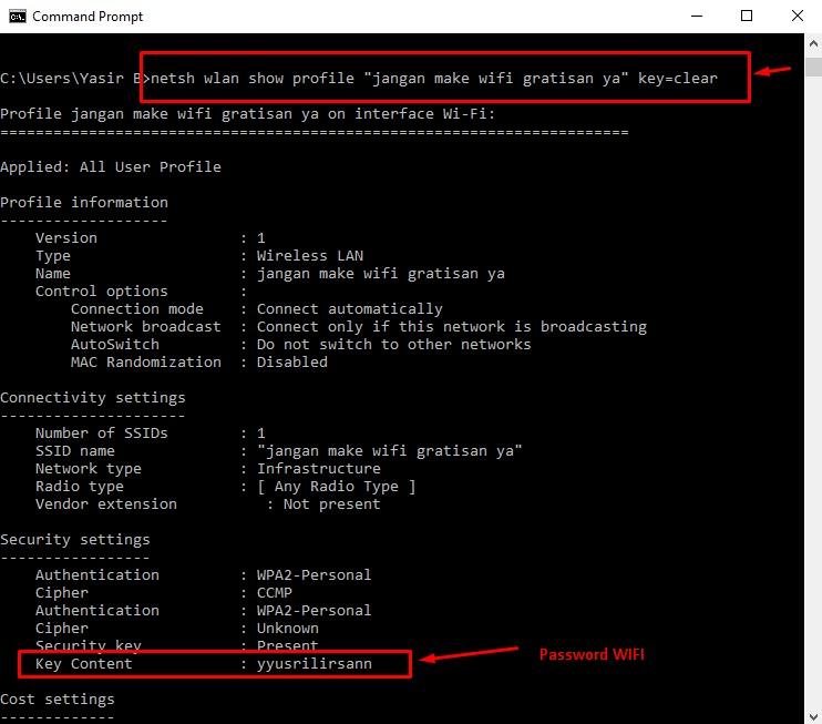 Melihat password wifi command prompt