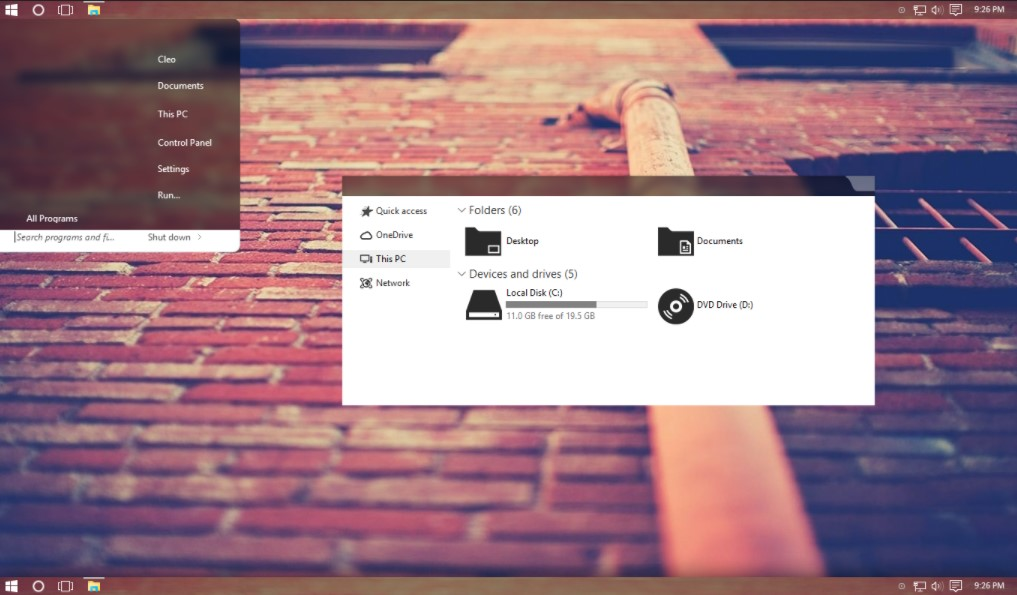 Tema Terbaik Windows 10 Tiano Glass
