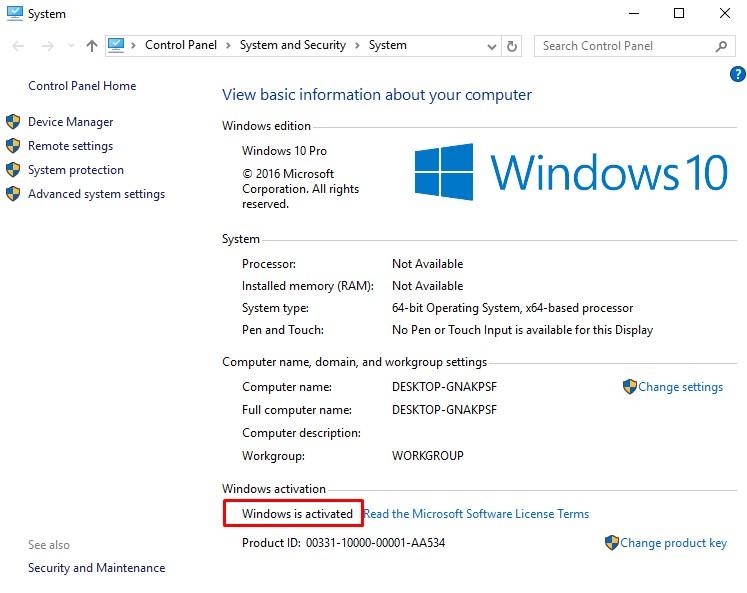 Aktivasi Windows 10 Pro Berhasil