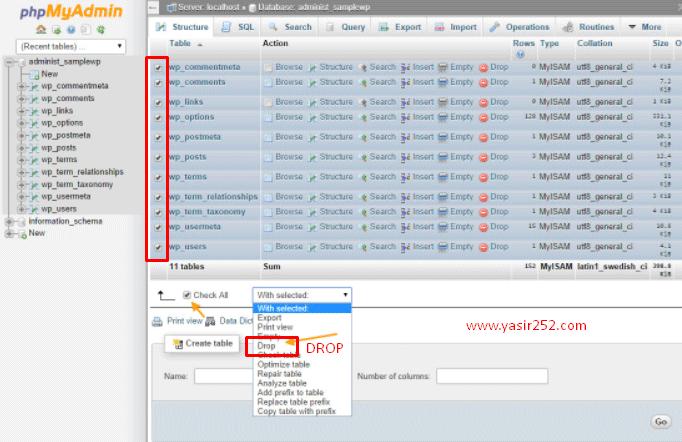 Membersihkan Database di PHPMyAdmin