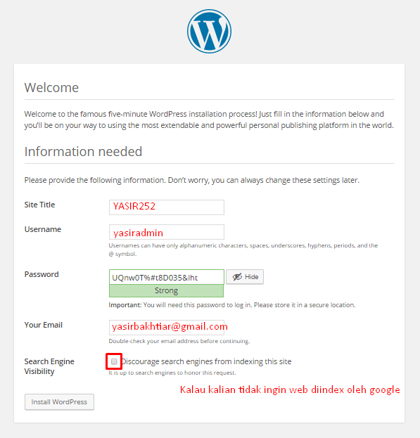 Cara Membuat WordPress Website Sendiri Yasir252