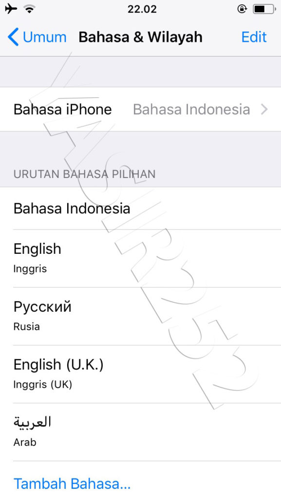Ganti Bahasa iPhone
