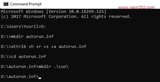 Menggunakan command prompt untuk menghapus virus shortcut di flashdisk