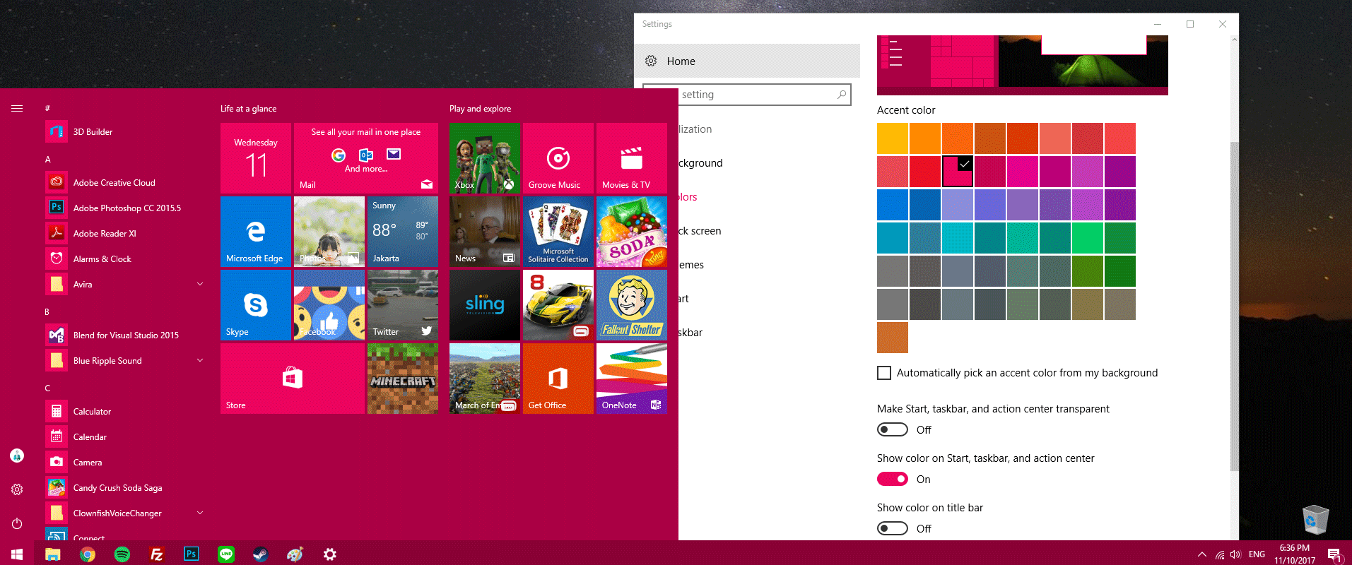 Ganti Warna Taskbar Windows 10