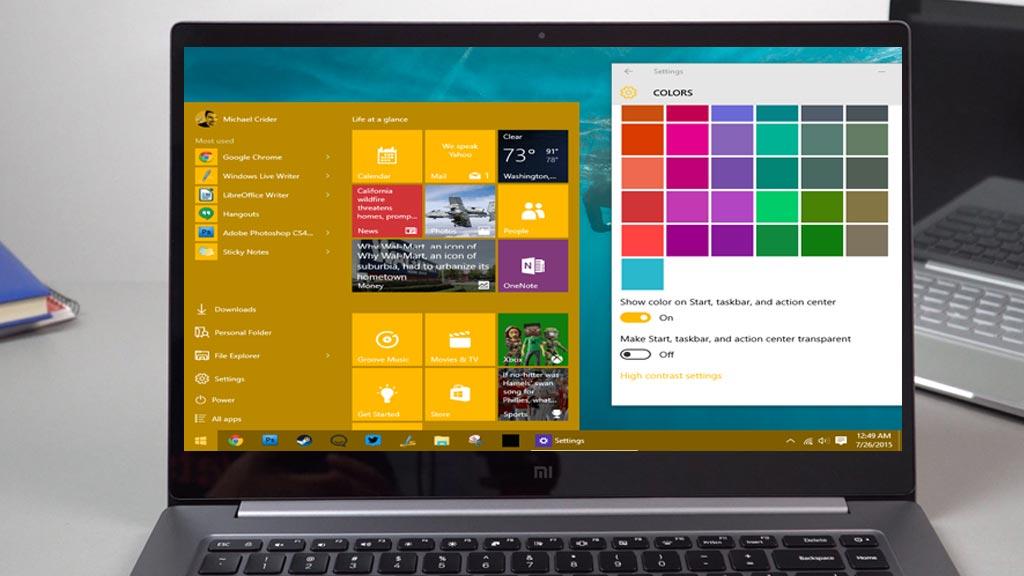 Cara merubah warna taskbar windows 10