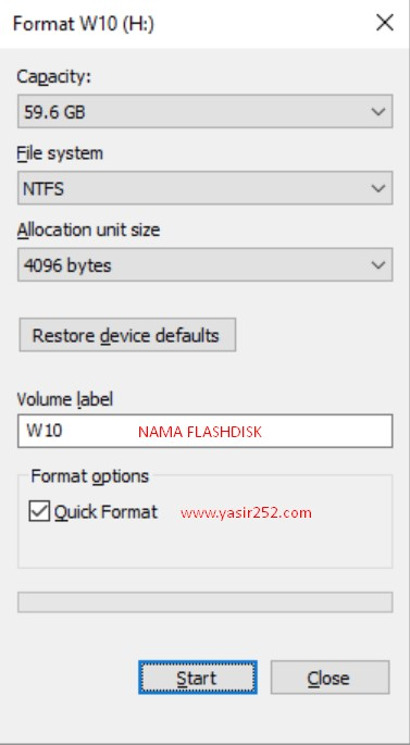 Cara Format Flashdisk di Windows YASIR252