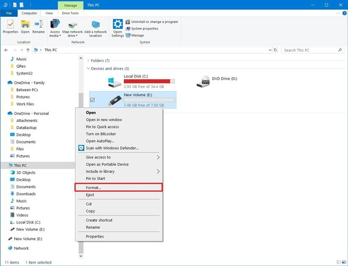Format Flashdisk File Explorer Menu