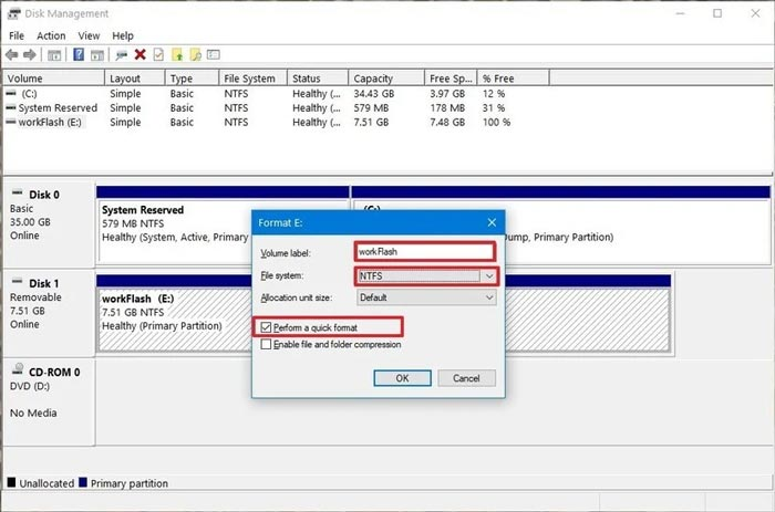 Format Settings USB Flashdisk via Disk Management