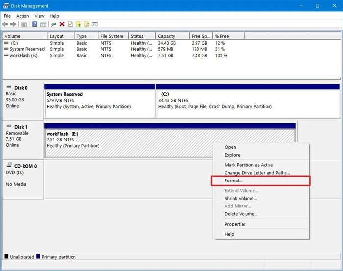 Cara Format Flashdisk via Disk Management