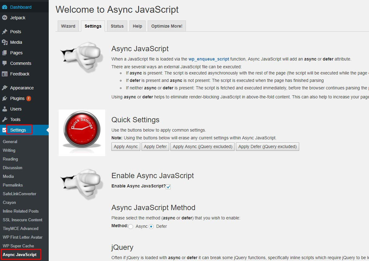 Cara Async Javascript WordPress Yasir252