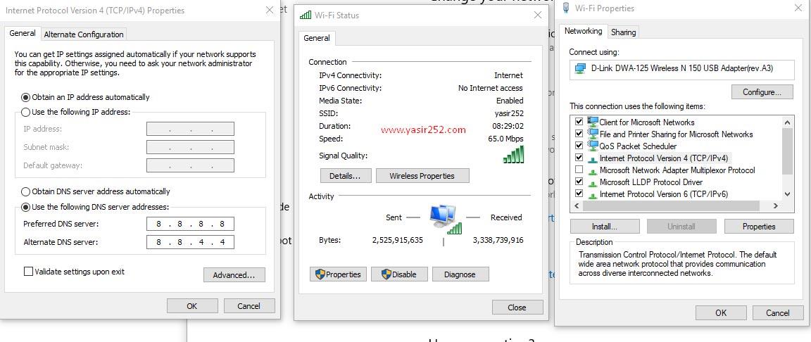 Cara merubah dns komputer untuk memperbaiki error 502 bad gateway