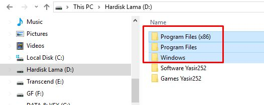 Cara menghapus folder windows dan program files di hardisk lama