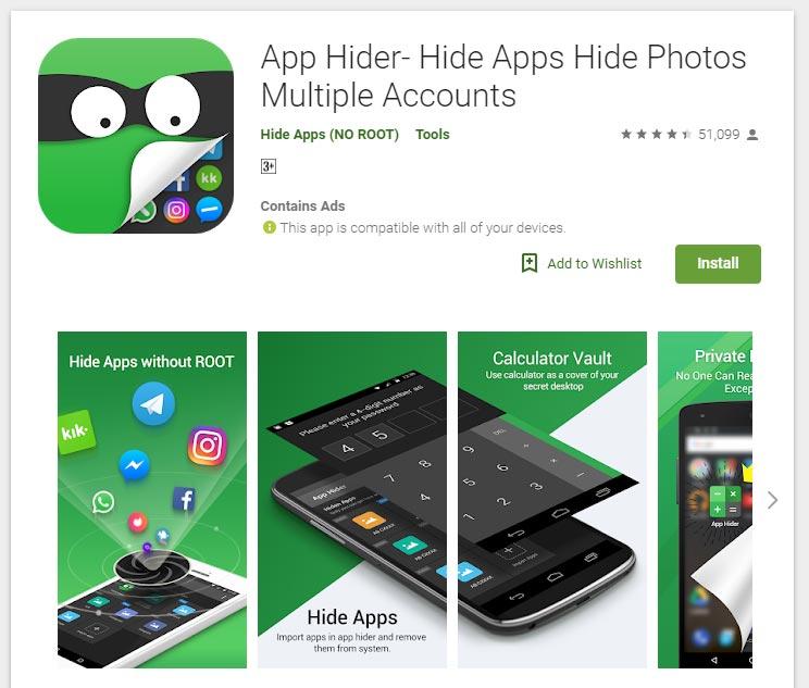 Aplikasi untuk menyembunyikan aplikasi lain