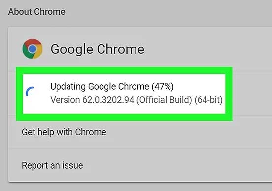 Proses updating chrome