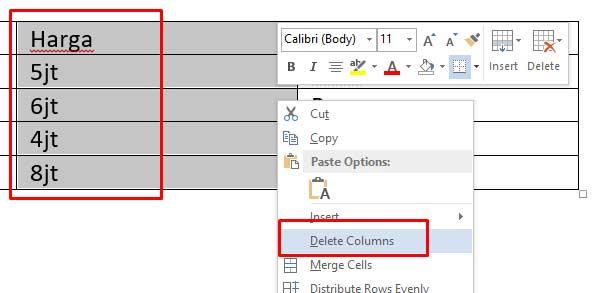 Cara Menghapus kolom dan baris tabel word