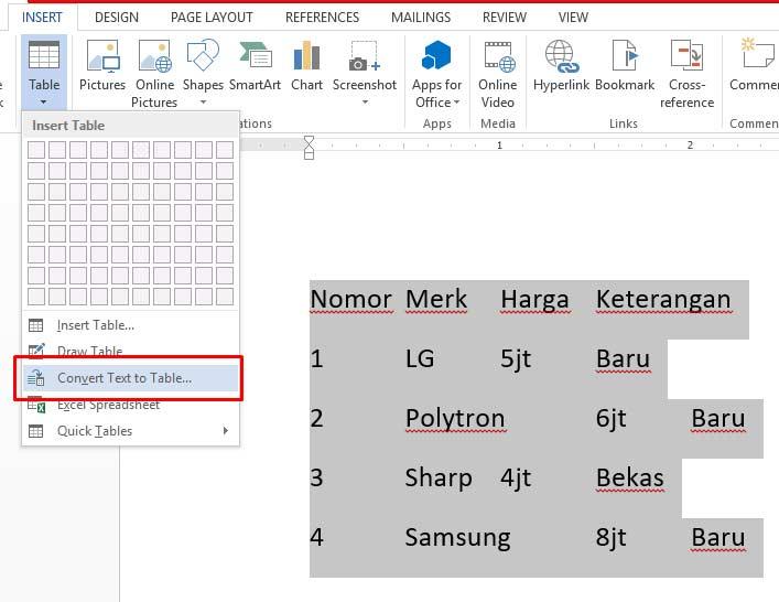 Cara Merubah Text menjadi tabel di ms word