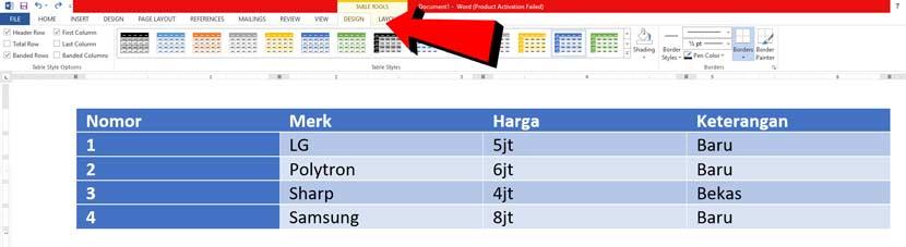 cara membuat tabel microsoft word