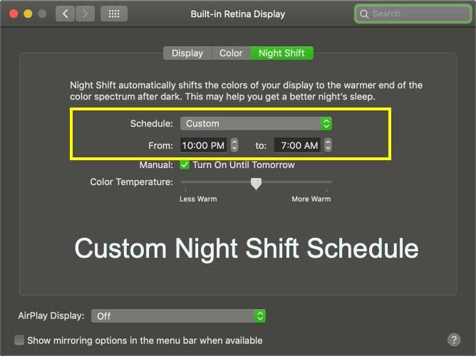 cara mengaktifkan night mode macos settings