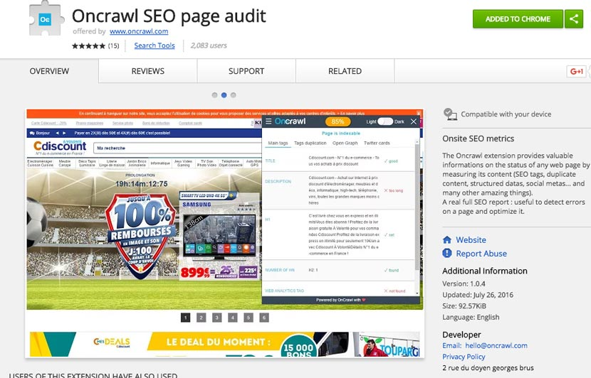 On Crawl SEO Extension Chrome