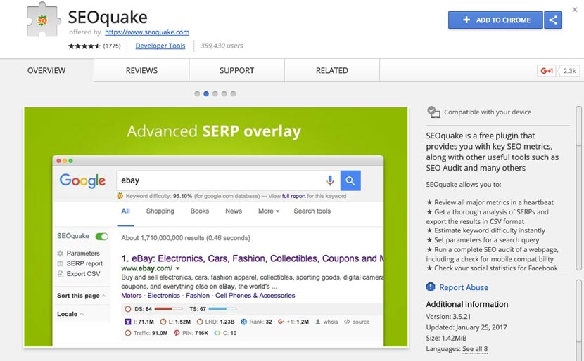 SeoQuake Seo Extension Chrome Terbaik