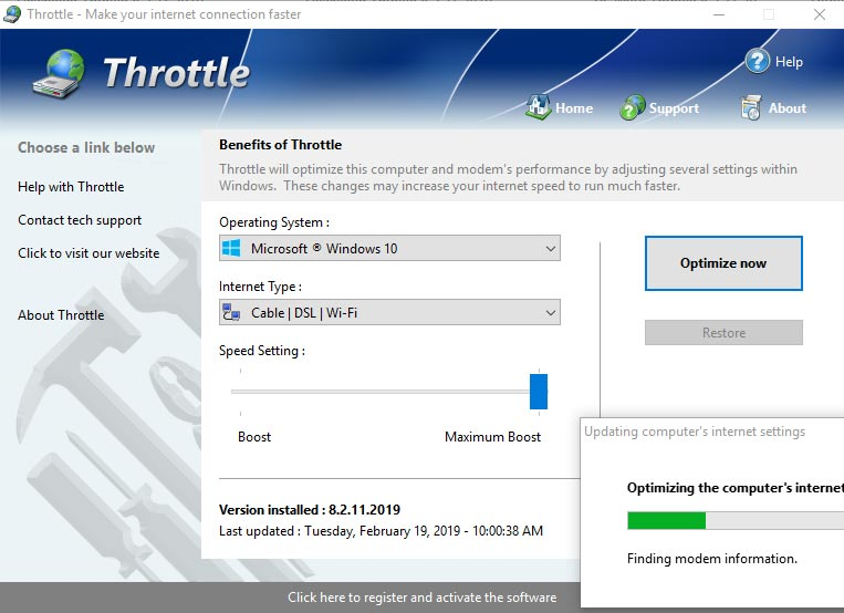 Throttle Aplikasi Internet Speed Booster