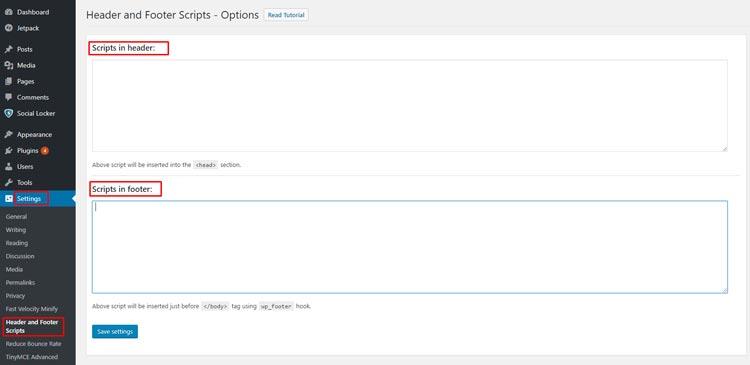 Header Footer Scripts WordPress Plugin