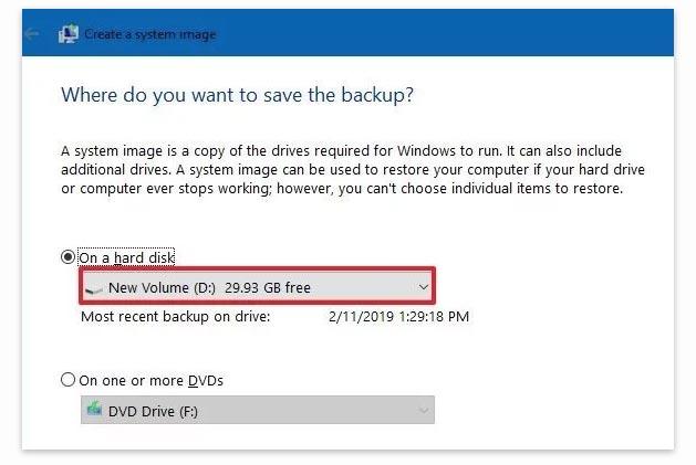 Membuat file backup Windows 10 ke hardisk external
