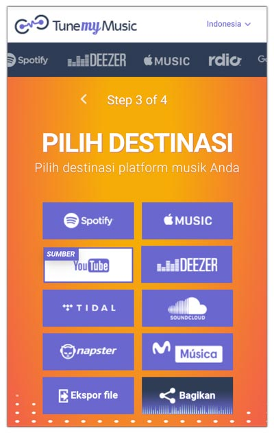 memindahkan playlist ke layanan streaming destinasi