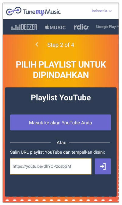 memindahkan url playlist tune my music