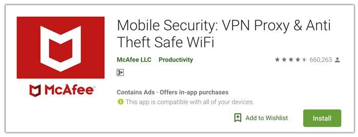 McAfee aplikasi antivirus terbaik android