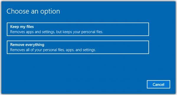Pilihan Sebelum Reset Windows 10