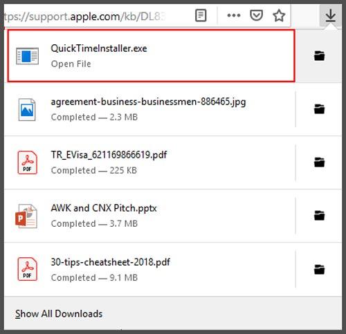 Buka file download QuickTime Windows
