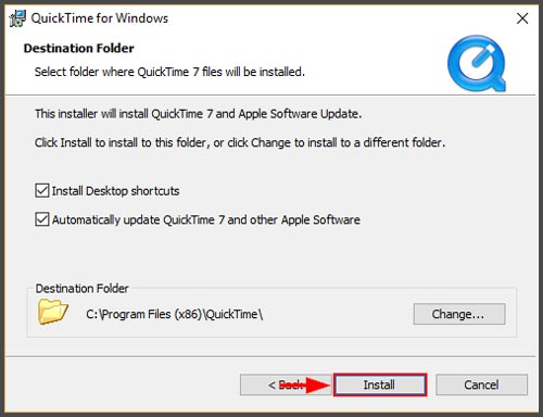 Install file QuickTime Player WIndows