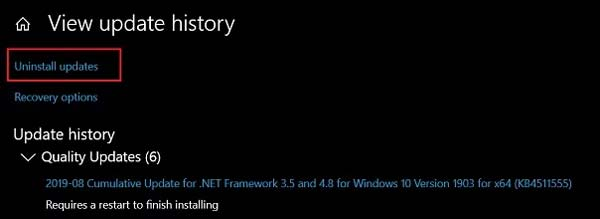 Cara Uninstall Updates Windows 10