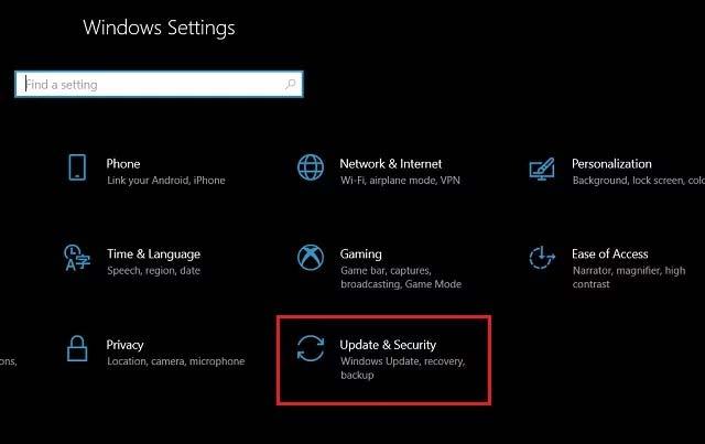 Masuk Windows Update Security Settings
