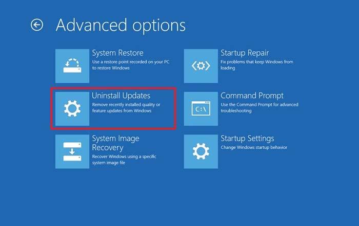 Uninstall Updates Windows 10
