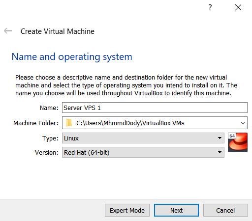 Mengatur nama mesin virtual pada virtualbox
