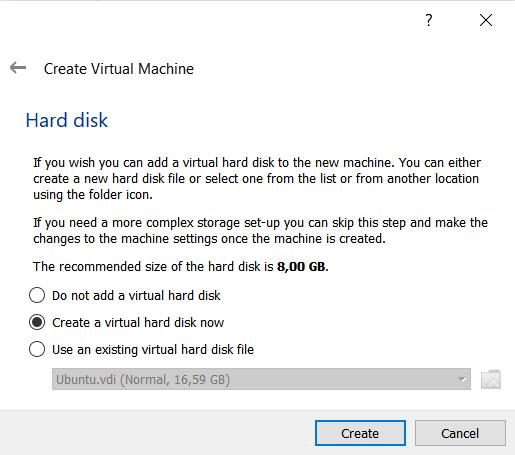 Memilih untuk membuat hardisk virtual