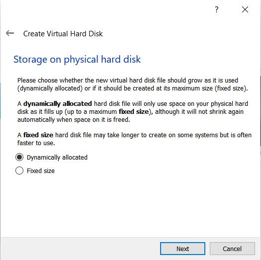 Memilih dynamically allocated untuk jenis penyimpanan hardisk virtual