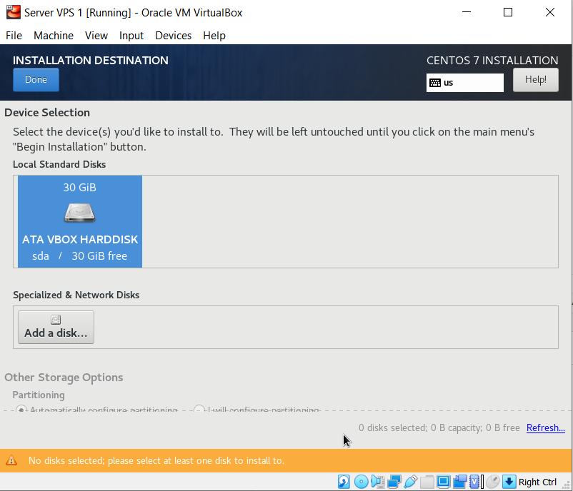 Mengatur penyimpanan default sistem boot centos 7 pada hardisk virtual