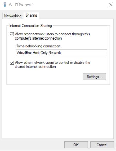 Pop up wifi-properties terbuka dan menceklist pada pilihan internet connection sharing